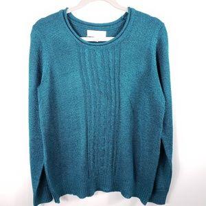 Caroline Taylor  greenish blue sweater